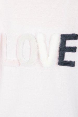 Пуловер нежно-розового цвета с надписью LOVE на спине Max & Moi. Цвет: розовый