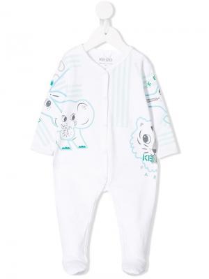 Пижама с принтом Kenzo Kids. Цвет: белый