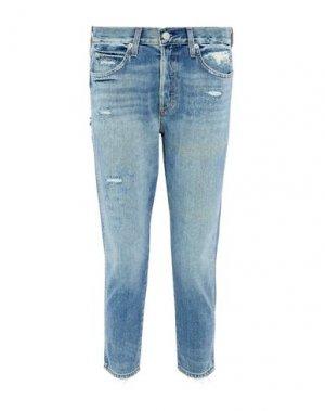 Джинсовые брюки-капри AMO. Цвет: синий
