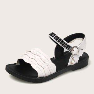 Сандалии с открытым носком для девочек SHEIN. Цвет: белый