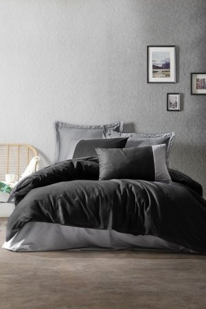 Single Quilt Cover Set, 1,5 sp Cotton box. Цвет: black, grey
