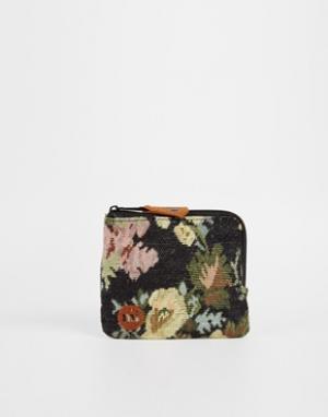 Гобеленовый кошелек с розами и застежкой-молнией Mi-Pac. Цвет: черный