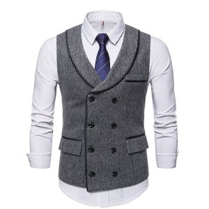 Мужской двубортный жилет-пиджак без рубашки и галстука SHEIN. Цвет: многоцветный