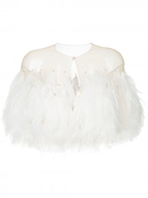 Illusion tulle feather capelet Isabel Sanchis. Цвет: нейтральные цвета