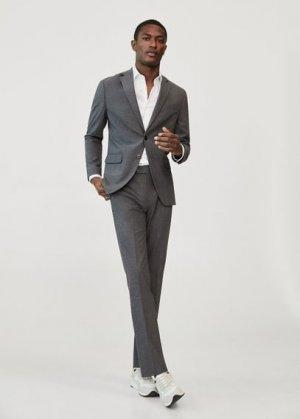 Костюмный пиджак slim fit из шерсти - Travel Mango. Цвет: серый