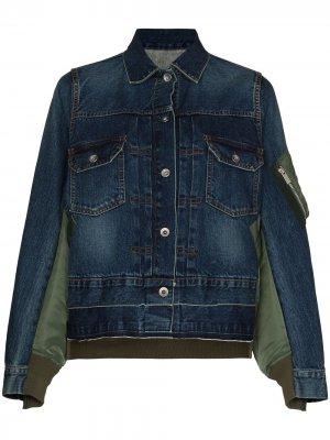 Джинсовая куртка со вставками Sacai. Цвет: синий