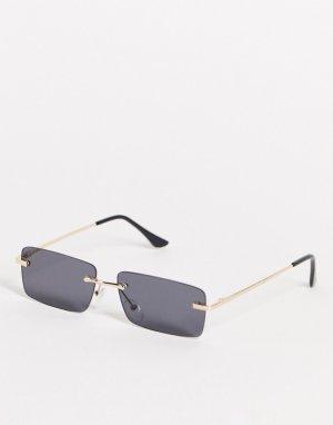 Золотистые узкие квадратные солнцезащитные очки в стиле унисекс с дымчатыми линзами -Золотистый AJ Morgan