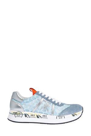 Кроссовки Conny из дышащего нейлона с металлизированной отделкой PREMIATA. Цвет: голубой