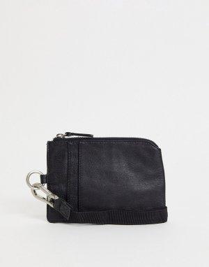 Кожаный бумажник с круговой молнией и ремешком -Черный цвет Urbancode