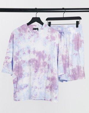 Пижамный комплект для дома из шортов и футболки с рисунком тай-дай в фиолетовых тонах -Фиолетовый ASOS DESIGN
