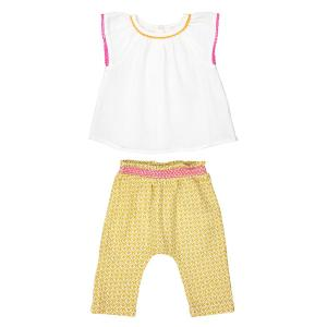 Комплект для младенца: блузка и шаровары 0 мес. - 3 года La Redoute Collections. Цвет: белый/ желтый