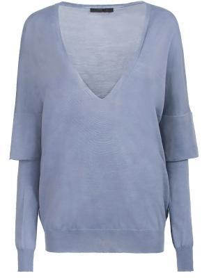 Шерстяной пуловер Les Copains. Цвет: голубой