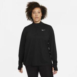 Женская беговая футболка с молнией на половину длины (большие размеры) - Черный Nike