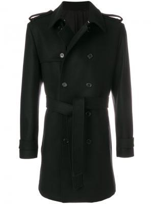 Двубортное пальто с поясом Kris Van Assche. Цвет: чёрный