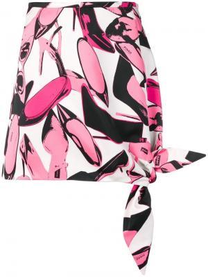 Юбка мини с узлом Pinko. Цвет: розовый