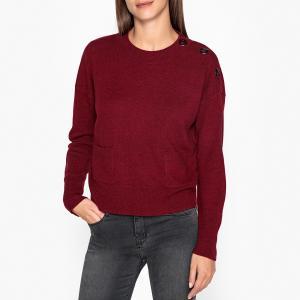 Пуловер с круглым вырезом из тонкого трикотажа шерсти и кашемира AXEL BERENICE. Цвет: бордовый,хаки