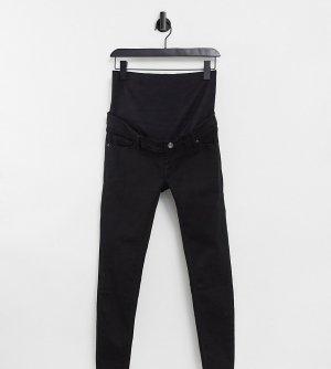 Черные зауженные джинсы с накладкой поверх животика Jamie-Черный цвет Topshop Maternity