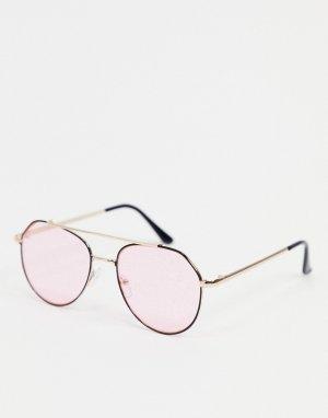 Черные солнцезащитные очки-авиаторы с розовыми стеклами -Черный цвет AJ Morgan