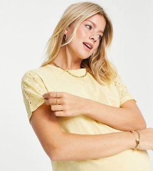 Желтая эксклюзивная футболка с вышивкой ришелье на рукавах ASOS DESIGN Maternity-Фиолетовый цвет Maternity
