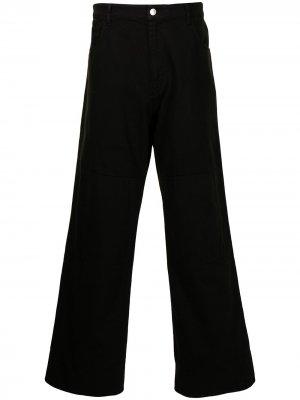 Широкие джинсы с нашивкой-логотипом Raf Simons. Цвет: черный