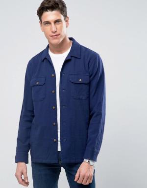 Бежевая рубашка с 4 карманами 1892 Anniversary-Темно-синий Abercrombie & Fitch