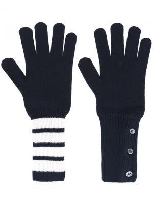 Вязаные перчатки Thom Browne. Цвет: синий