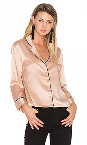 Блуза на пуговицах с v-образным вырезом Hoss Intropia. Цвет: румянец