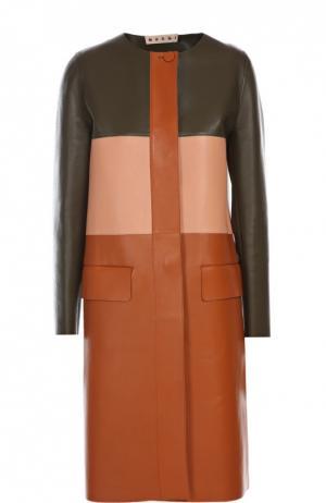 Кожаная куртка Marni. Цвет: разноцветный