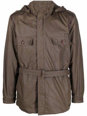 Двустороннее пальто 1970-х годов с поясом Pierre Cardin Pre-Owned. Цвет: khaki