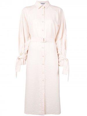 Платье-рубашка длины миди с поясом Kenzo. Цвет: оранжевый