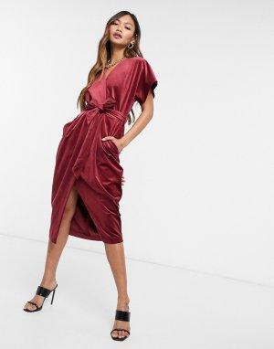 Бархатное платье миди цвета красного вина с рукавами кимоно и запахом -Красный Closet London