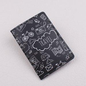 Чехол для паспорта с мультипликационным и текстовым принтом SHEIN. Цвет: чёрный