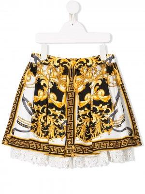 Юбка с цветочным кружевом и узором Baroque Young Versace. Цвет: белый
