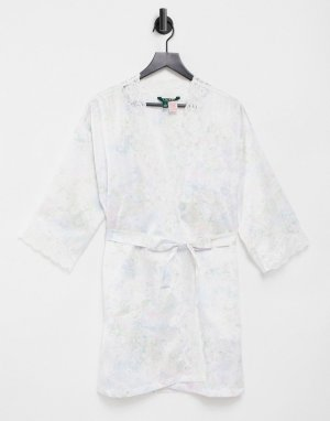 Атласный короткий халат-кимоно с разноцветным цветочным принтом Lauren by Ralph Lauren-Многоцветный