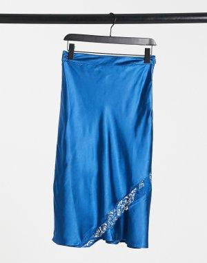 Сине-зеленая юбка в стиле комбинации с кружевными вставками -Зеленый цвет Elvi