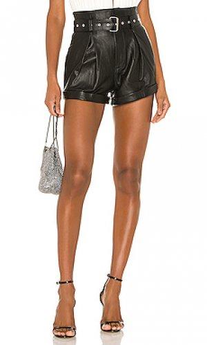 Кожаные шорты azan Camila Coelho. Цвет: черный