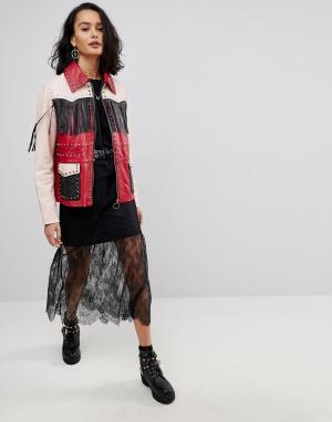 Кожаная куртка с бахромой ASOS-Мульти ASOS DESIGN