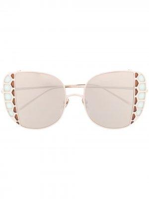 Массивные солнцезащитные очки Amelia Linda Farrow. Цвет: золотистый