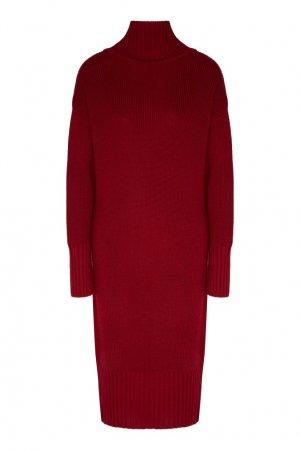 Бордовое вязаное платье LAROOM. Цвет: бордовый