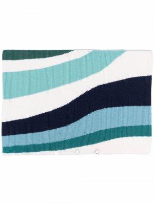 Одеяло в полоску стиле колор-блок AMI AMALIA. Цвет: синий