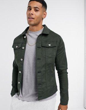Темно-зеленая джинсовая куртка -Зеленый River Island