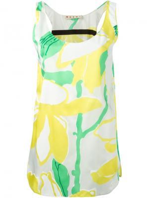 Платье-майка с цветочным принтом Marni. Цвет: жёлтый и оранжевый