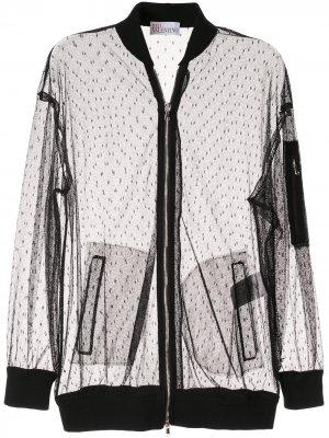 Куртка-бомбер из тюля RED Valentino. Цвет: черный