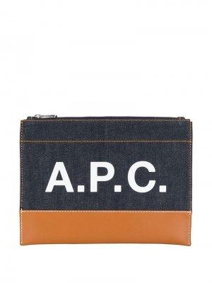 Клатч с логотипом A.P.C.. Цвет: синий