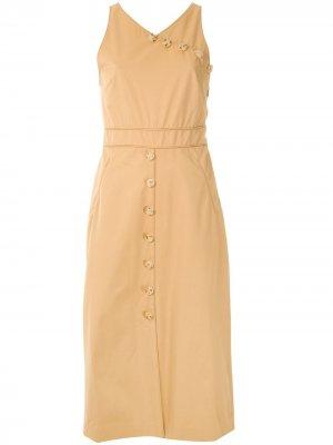 Твиловое платье на пуговицах Eva. Цвет: нейтральные цвета