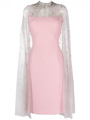 Платье с кристаллами и кейпом Jenny Packham. Цвет: розовый