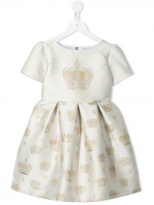 Платье с короткими рукавами и вышивкой Lesy. Цвет: белый