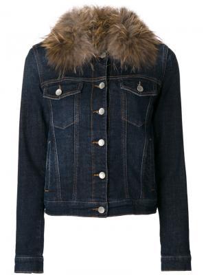 Джинсовая куртка с меховым воротником Twin-Set. Цвет: синий