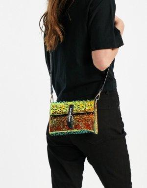 Радужная переливающаяся сумка через плечо с фирменными ремешками -Многоцветный House of Holland