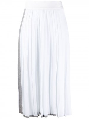 Юбка с плиссировкой и полосками Maison Flaneur. Цвет: белый